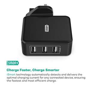 RAVPower Fast USB Chargers 30W Charger Plug 6A 3-Port Power Adapters with iSmart 2.0 - Black, for £6.99 (Prime) £10.98 (Non Prime) after promo (in description) £6.99 Prime / £9.98 Non Prime @ Sold by Sunvalleytek-UK and Fulfilled by Amazon