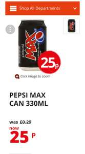 Pepsi Max 330ml Cans 5 for £1 in Poundstretcher. 25 for £5.