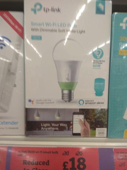 Reduced TP-Link LB110 Smart LED Wi-Fi Light Bulb - £18 instore @ Sainsbury's (Romford)