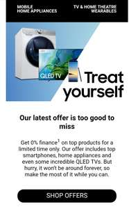 0% finance (PayPal) on a range of Samsung phones, TVs and appliances