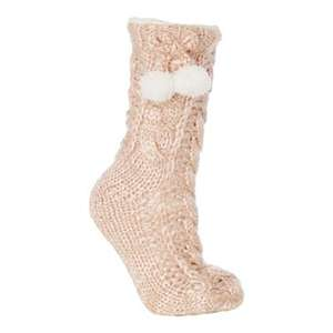 Lounge & Sleep-Pink cable knit slipper socks - And others to choose from £4.80 + Free Delivery with code SH4Z at Debenhams