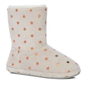 Lounge & Sleep - Grey star print slipper boots £6 + Free Delivery with code SH4Z at Debenhams