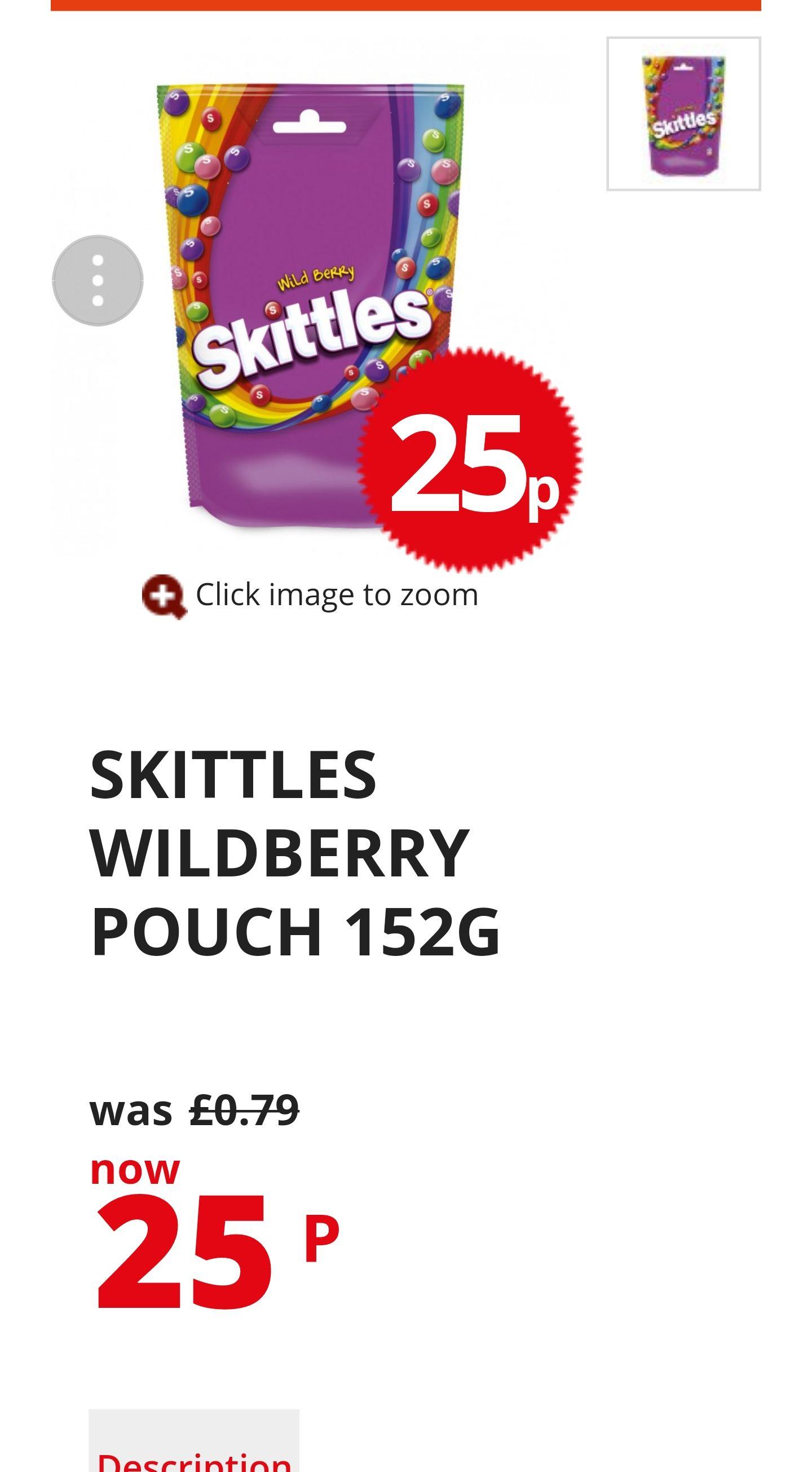 SKITTLES WILDBERRY POUCH 152G Poundstretcher 25p
