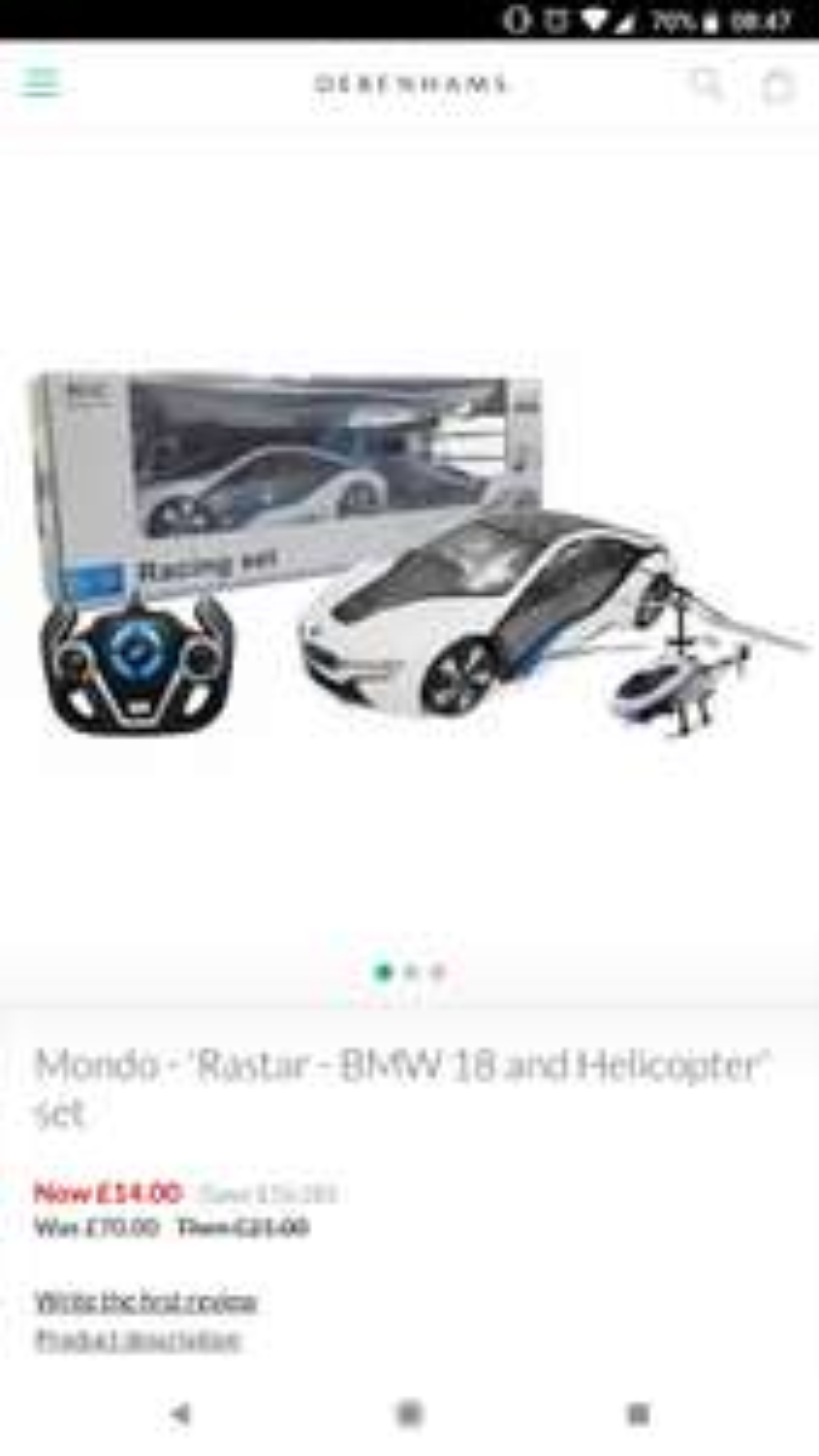 Mondo-'Rastar - BMW 18 + Helicopter' set £12.60 delivered using codes @ Debenhams