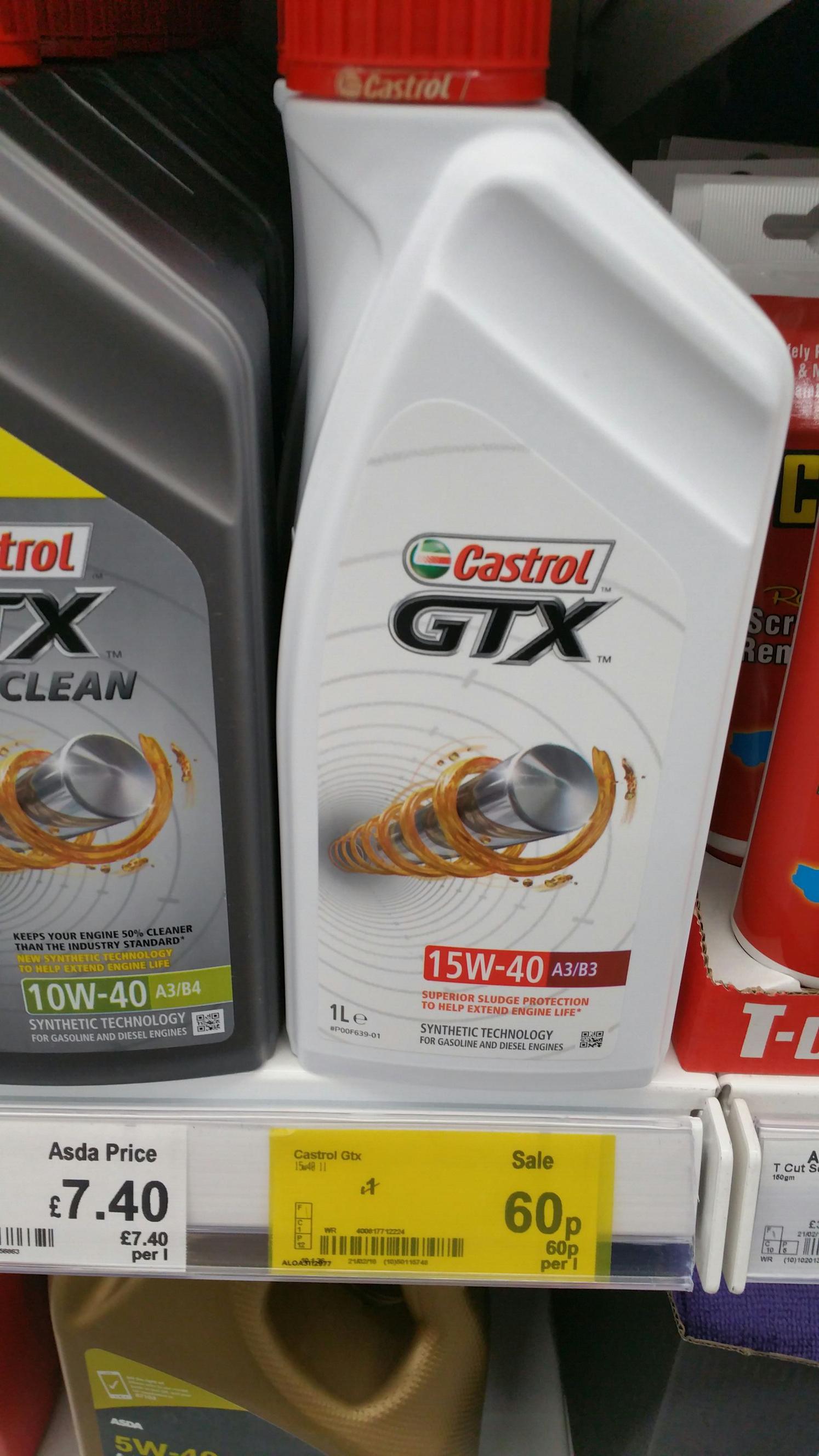 Castrol Gtx 15w-40 engine oil @ asda Reddish - 60p
