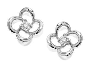 9ct white gold diamond four petal earrings £79.95 at F. Hinds