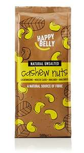 Happy Belly Whole Cashews 500g £5.85 each or £11.41 for 3 with discount (+£3.99 non prime delivery)