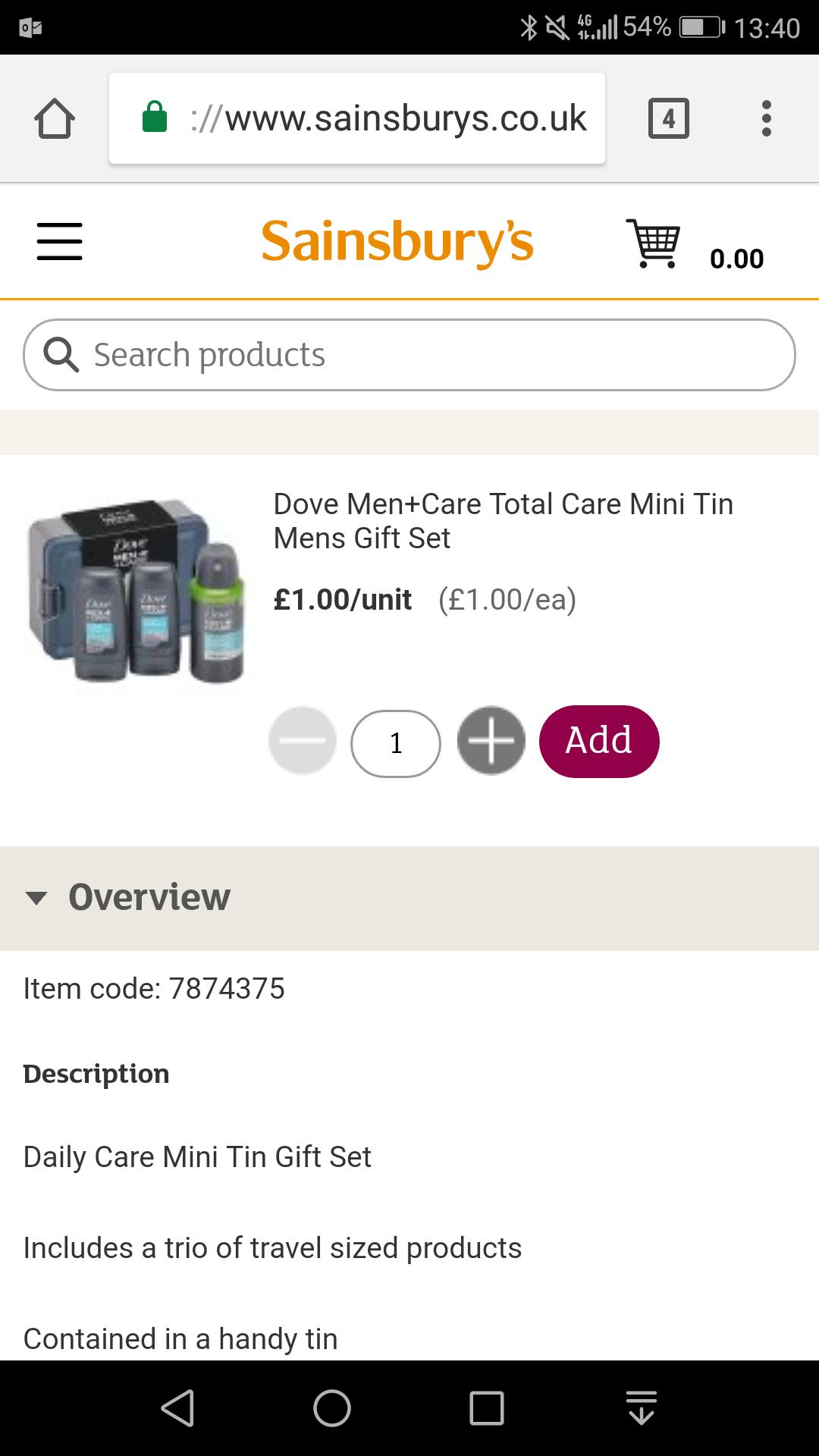 Dove Men's Daily Care Mini Tin£1.00 at Sainsbury's
