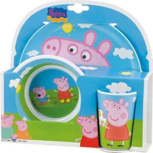 Peppa Pig melamine plate cup and bowl set instore at Tesco for £1.50 (Corby)