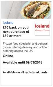 £10 back a purchase of £30 or more at Iceland @ HSBC Visa offer