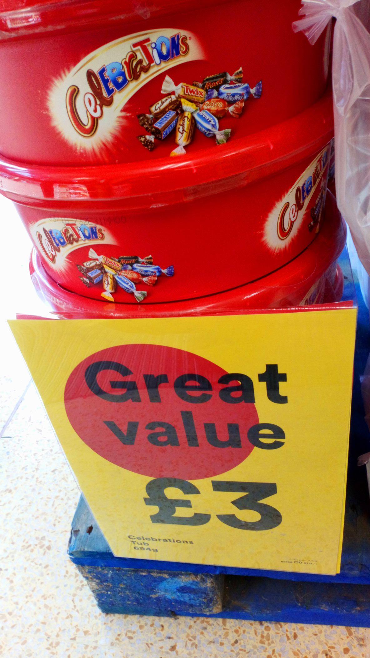 Celebrations Chocolate Tub £3 @ Iceland instore