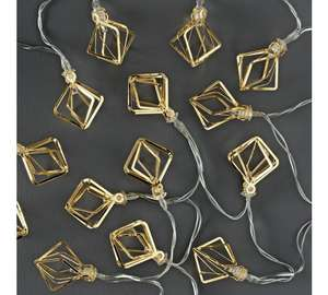 Collection Set of 20 Diamond Cage LED String Lights - Gold (Battery Operated) + Free click and collect at Argos