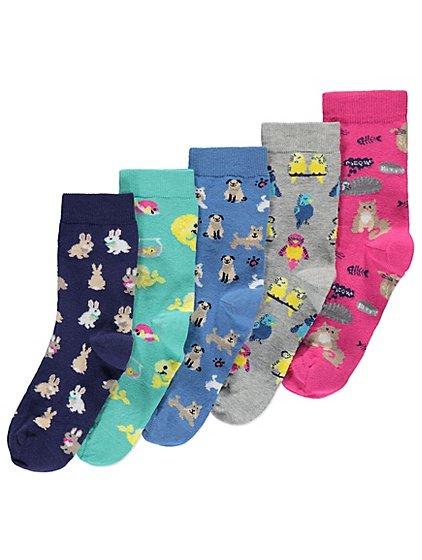 Ladies pack of 5 animal socks £3 @ Asdageorge