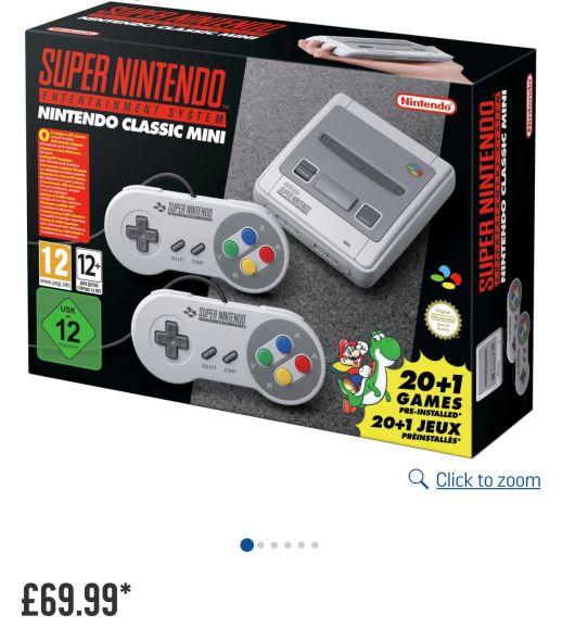 Nintendo SNES Classic Mini console £69.99 @Argos + FREE £5.00 gift-card when you spend £35.00 via vouchercodes