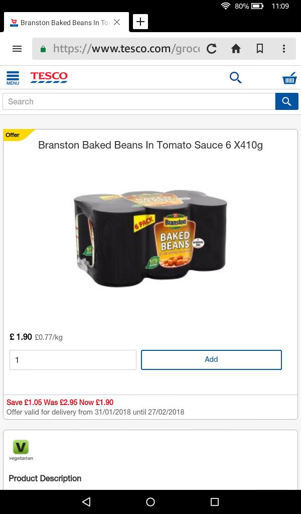 Tesco Online Branston Beans 6 Pack £1.90 (4 Pack £2)