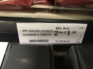 3 Flavours of Golden Wonder (Sausage and Tomato or Cheese and Onion or Ready salted) or McCoys MeatyVariety £1 each or any 2 packs for £1.60 mix & match @ Farmfoods