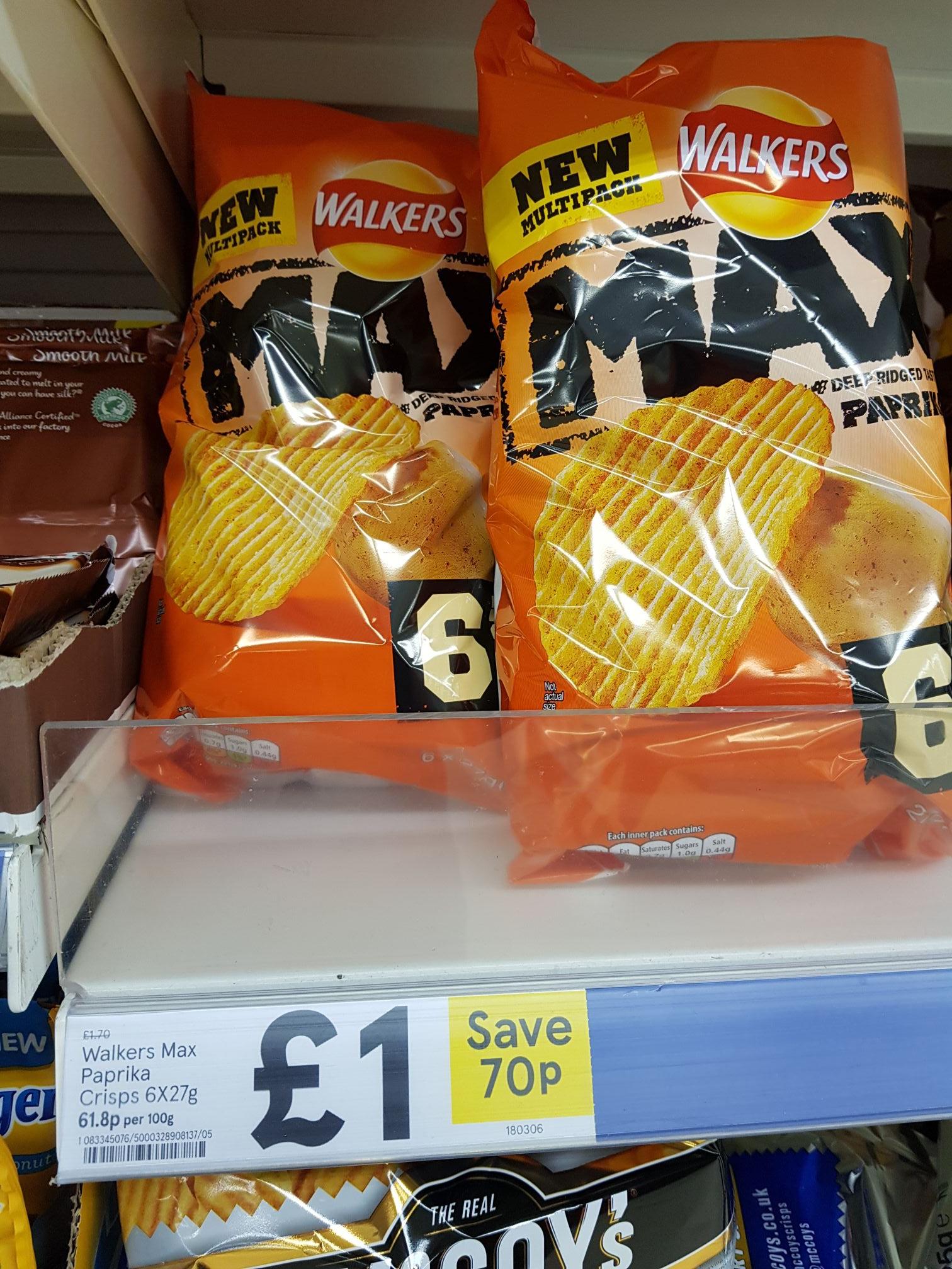 Walkers Paprika crisps!!! £1 for 6-pack @ Tesco