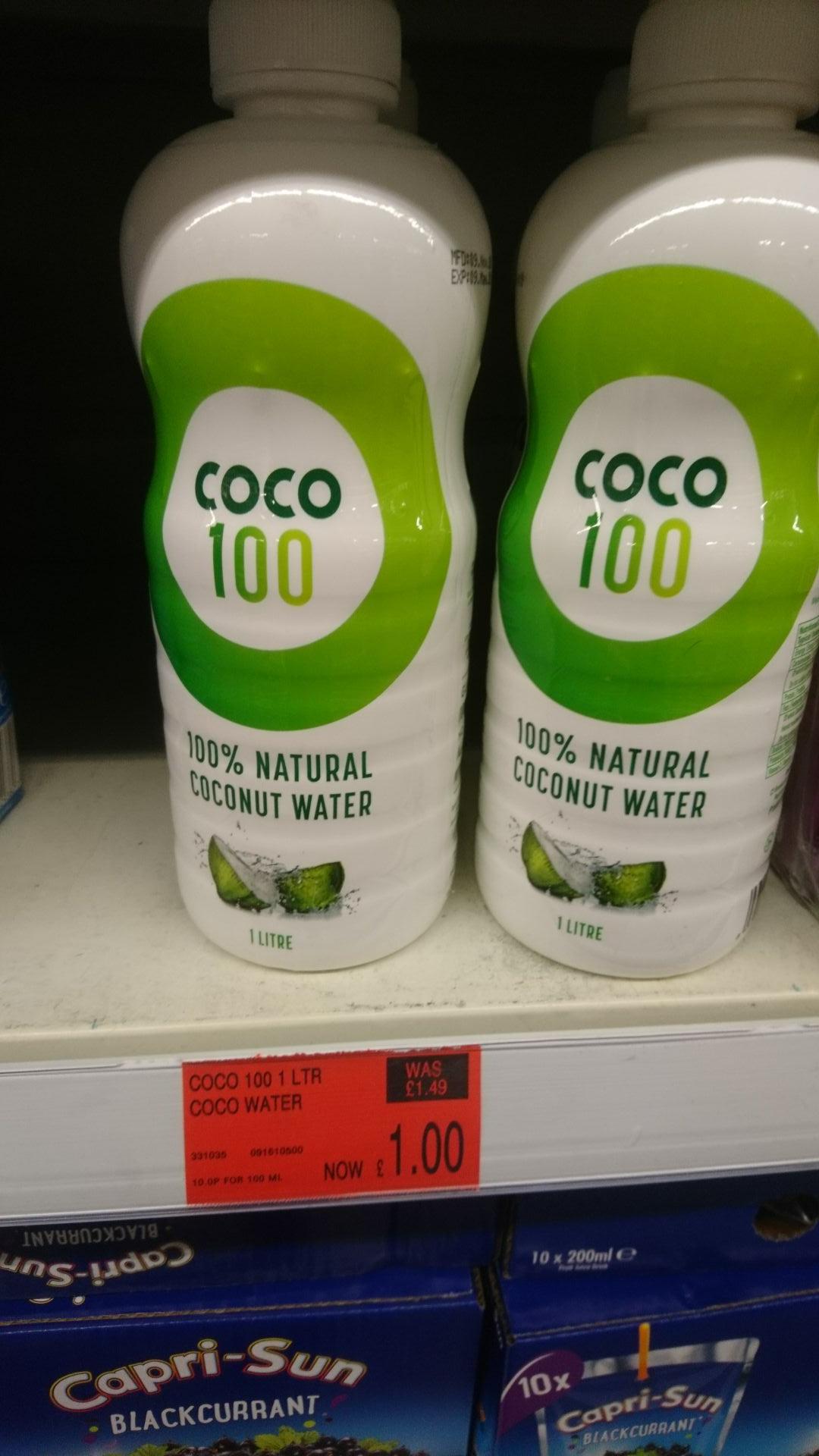 Coco fuzion 100 natural coconut water 1litre @ b&m