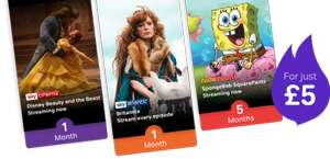 Now TV - 5 months Kids for £5 plus 30 day free trial of Entertainment and Movies (new customers only)