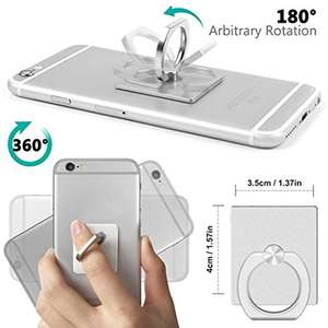 Blitz® Universal Ring Finger Holder 360° Stand Rotating Grip Car Mount (60%) £2.79 for Mobile Phone Tablet iPad iPhone Samsung (White) @ MB Direct Trading Ltd Amazon