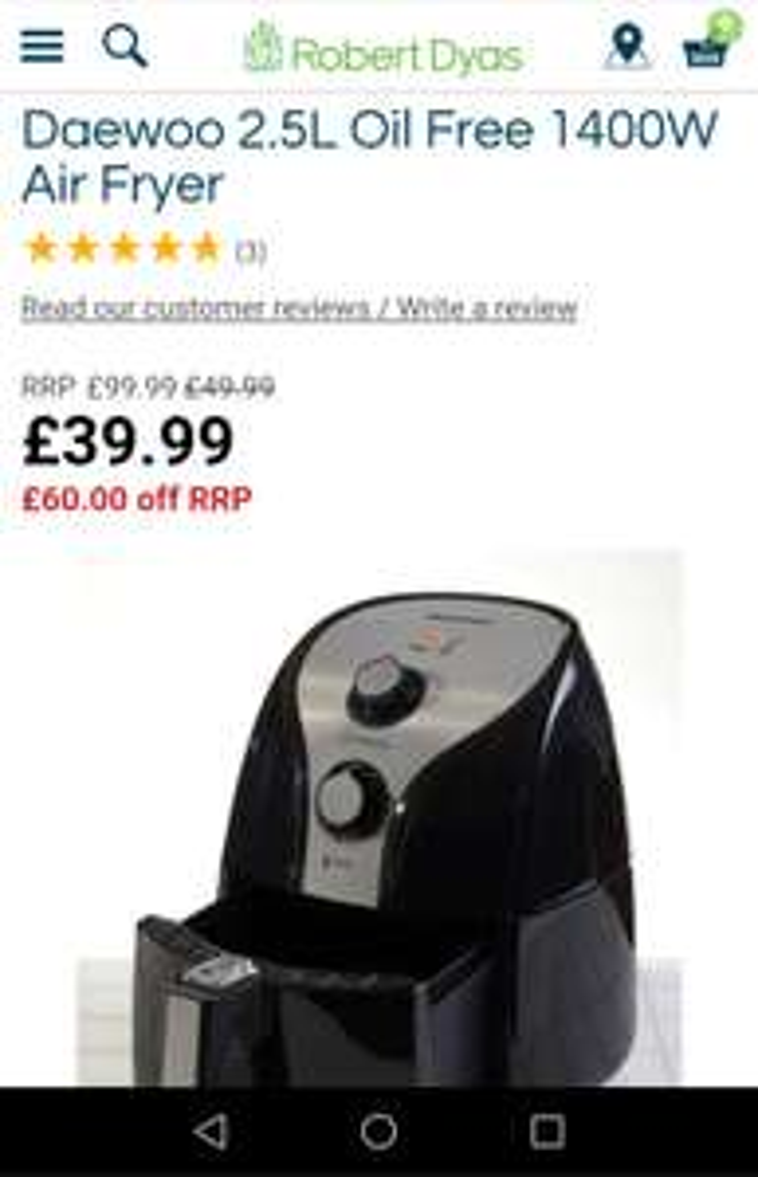 Daewoo 2.5L air fryer £39.99 @ Robert Dyas
