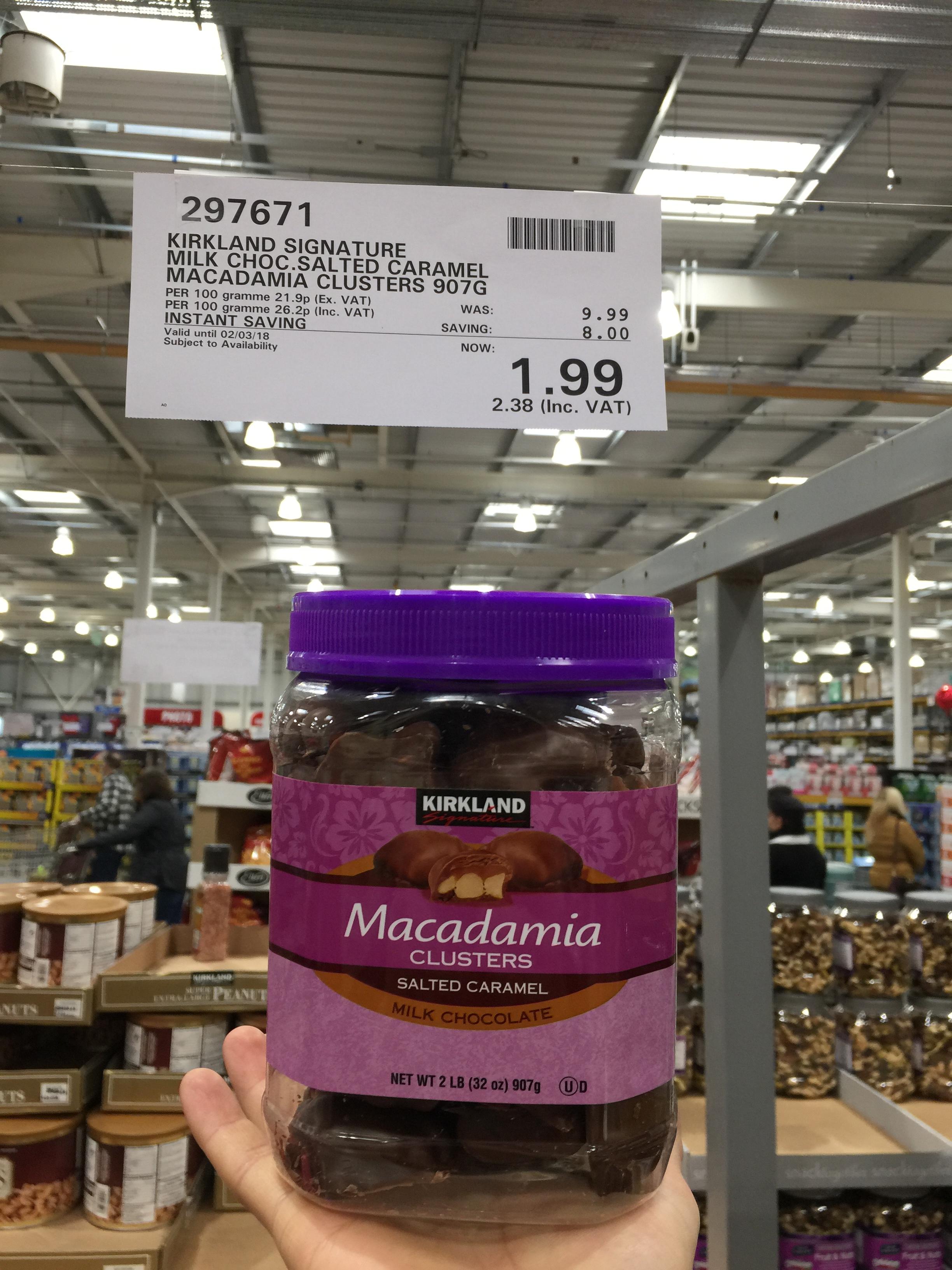 Kirkland Signature salted caramel Macadamia Clusters 2llb £2.38 @ Costco