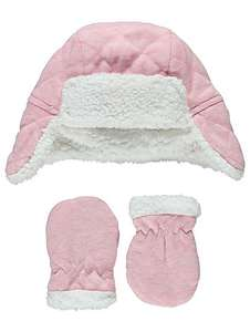Quilted- soft fleece lined trapper hat + mittens set £2 @ Asdageorge