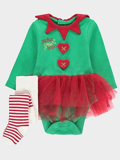 Santa's little helper tutu bodysuit + tights 0-3,6-9 months £4 @ Asdageorge