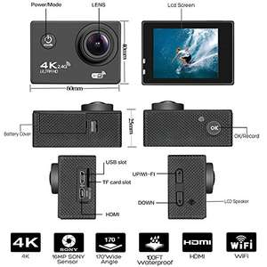 Action Camera 4K 30Fps Sports Cam Sold by Toptek Direct and Fulfilled by Amazon for £28.62