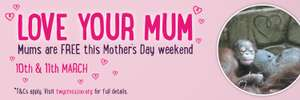 Twycross Zoo Mums go free on Mother's day weekend (One free admission for mum with one full paying child)
