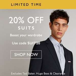 20℅ off on  Suits @ Moss Bros