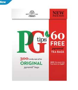 PG tips 300 pyramid tea bags for £4 at Tesco