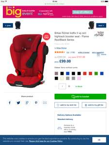Britax Romer Kidfix ii Xperia sict highback booster. Flame red / black series. £99 Mothercare.