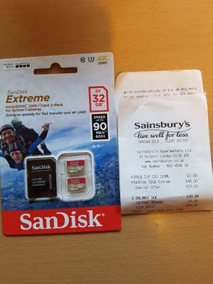 2x 32gb micro sd card reduced from £45 to £29.99 at sainsburys.
