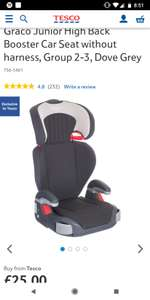 Graco Junior High Back Booster Car Seat without harness - £25 @ Tesco free c+c