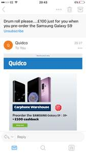 Pre-ordering the Samsung s9 on contract? £100 cashback through quidco!