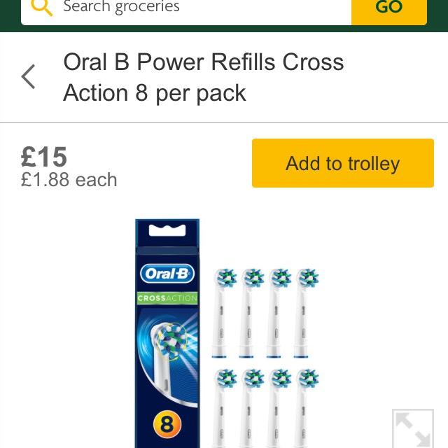 Oral B Power Refills Cross Action 8 per pack £15 at Morrisons