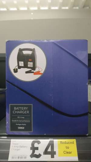 Tesco Car 12v 4amp battery charger £4 instore @ Tesco Handforth Dean