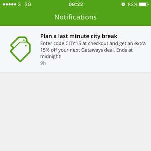 15% off your next getaway deal with code on groupon