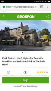 1 Night in Peak District Inc Welcome Drink & Breakfast £41.65 for Two People @ Groupon