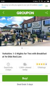 1 Night for Two in York (East Riding/Holme on Spalding) just £24.65 including breakfast @ Groupon