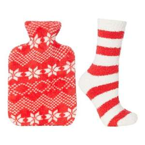 Lounge & Sleep - Red Fair Isle print fleece hot water bottle and socks set + Free Delivery with code SH4Z at Debenhams