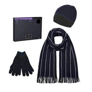 Jeff Banks - Navy striped beanie hat, scarf and gloves in a gift box £12.60 + Free Delivery with code SH4Z at Debenhams