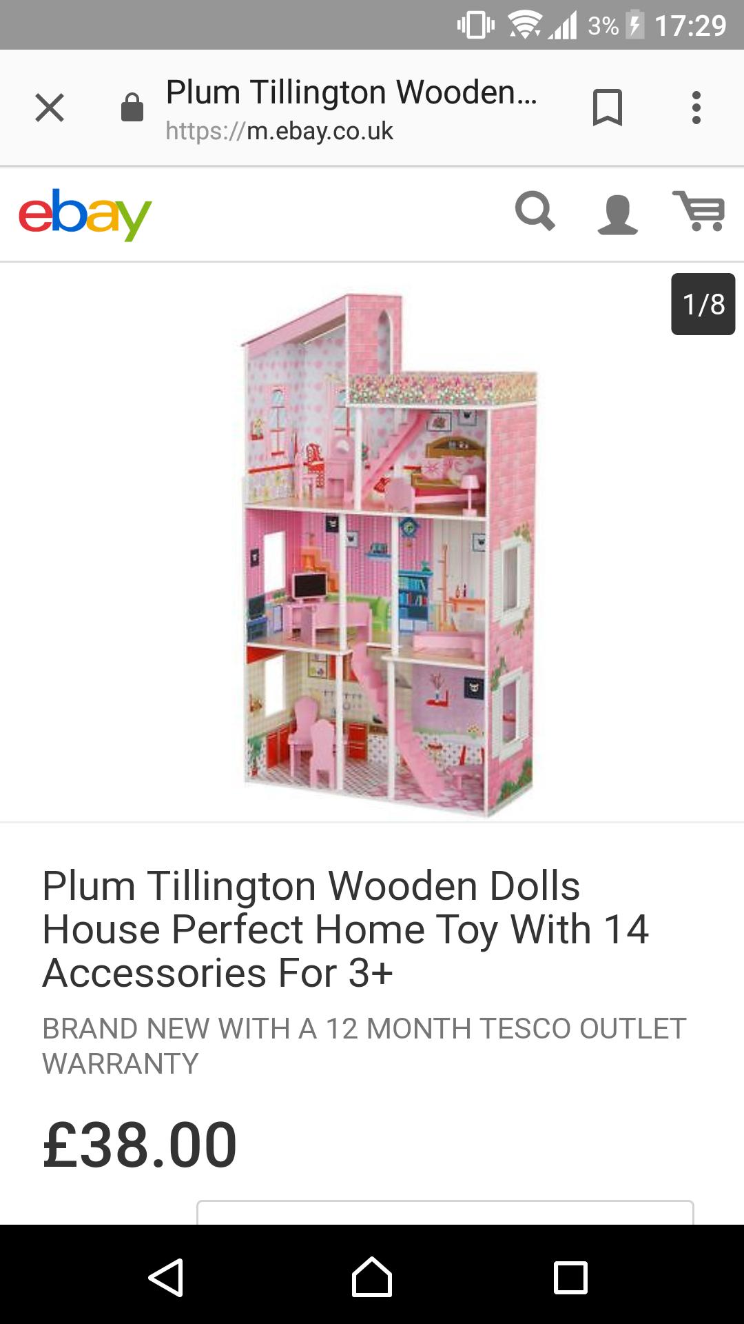 Plum tillington wooden dolls house £38 @ Tesco Ebay