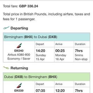 Emirates from Birmingham £336 to Dubai
