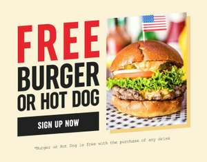 A free* Burger or Hot Dog offer - Ed's Easy Diner