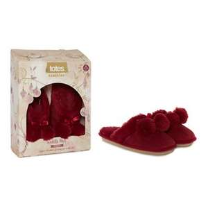 Totes - Red suedette fur pom pom mule slippers (Size M and L left) + Free Delivery with code SH4Z at Debenhams