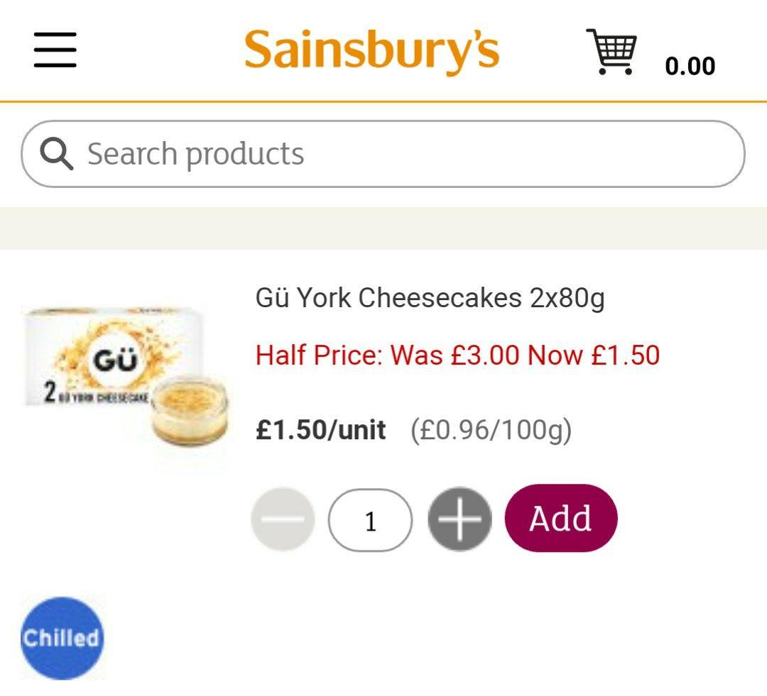 GU cheesecake 80gm x 2 £1.50 @ sainsburys