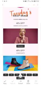 40% off Coats and Boots at Debenhams - online only - free delivery