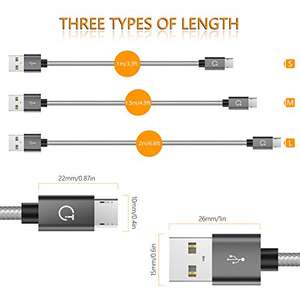 Micro USB Cable,Gritin [3-Pack] High Speed Micro USB Charger Charging Cable Lead -Nylon Braided Micro USB Sync Cable in Assorted Lengths[ 3ft, 4.5ft, 6ft ] £5 lightning deal / Sold by GritinDirect UK and FBA